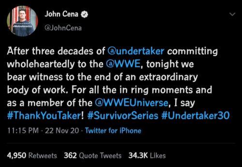 John Cena beri tribute untuk Undertaker. (Foto: Twitter/@JohnCena)