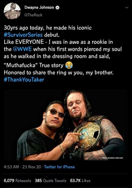 Dwayne Johnson dan Undertaker. (Foto: Twitter/@TheRock)