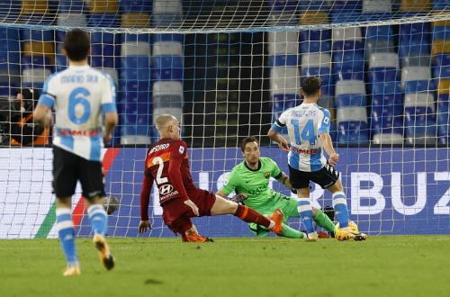 Dries Mertens perlebar skor menjadi 3-0 (Foto: Reuters/Ciro De Luca)