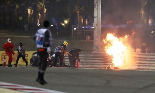 F1 GP Bahrain 2020 diwarnai kecelakaan hebat (Foto: Reuters/Tolga Bozoglu)
