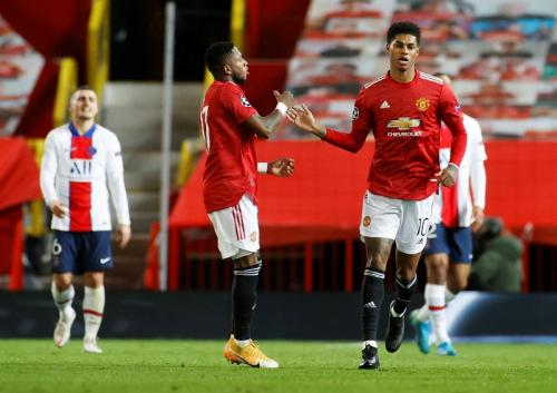 Marcus Rashford di laga Man United vs PSG