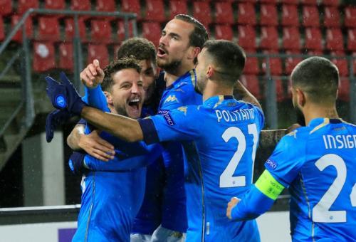 Skuad Napoli merayakan gol (Foto: Reuters)