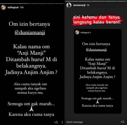 Lutfi Agizal vs Anji. (Foto: Instagram/@lambe_turah)