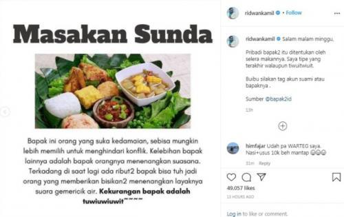 Unggahan Ridwan Kamil. (Foto: Instagram @ridwankamil)
