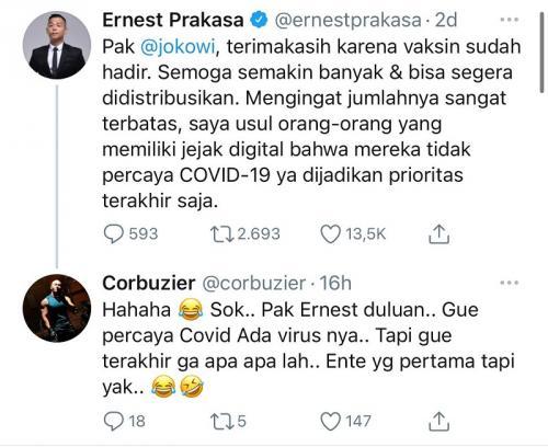 Deddy Corbuzier tanggapi cuitan Ernest Prakasa soal vaksin COVID-19. (Foto: Twitter)