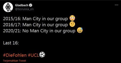Respons kocak twitter Monchengladbach saat tahu lawan mereka Man City