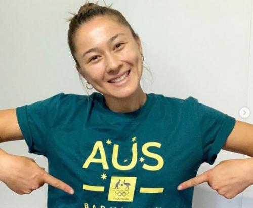 Gronya Somerville mengenakan kaus Australia (Foto: Instagram/@gronyasomerville)