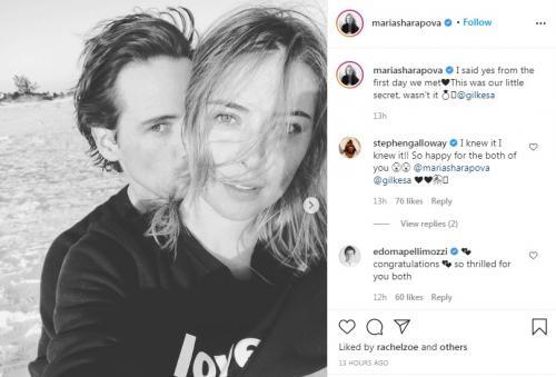 Maria Sharapova kini sudah bertunangan dengan Alexander Gilkes
