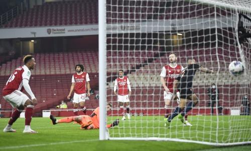 Suasana laga Arsenal vs Man City di Piala Liga Inggris