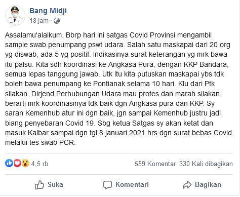 Postingan Gubernur Kalbar di Facebook