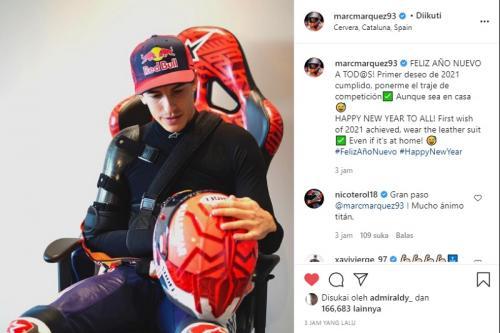Marc Marquez sudah bisa pakai baju balap