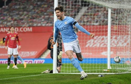 Selebrasi John Stones di laga Man United vs Man City