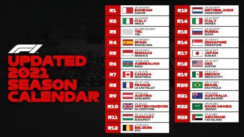 Kalender balap terbaru F1 2021 (Foto: Twitter/@F1)