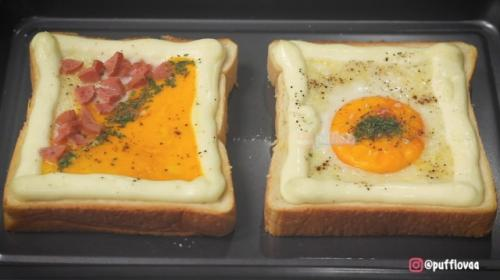 Creamy korean carbonara toast. (Foto: YouTube Pufflova)