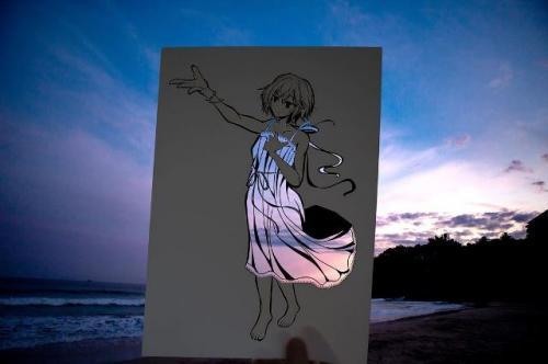 Seniman Jepang Kotetsu mewarnai gambar animenya dengan alam. (Foto: Instagram @kotetsu_of)