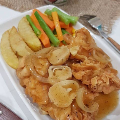 Ayam crispy saus jamur. (Foto: Facebook Resep Dapur/@bundnina_kitchen)