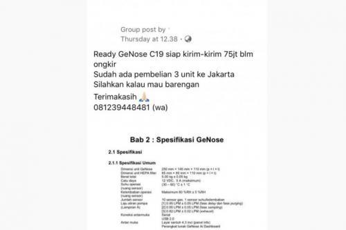 Tangkapan layar hoaks GeNose dijual Rp75 juta Foto: Facebook