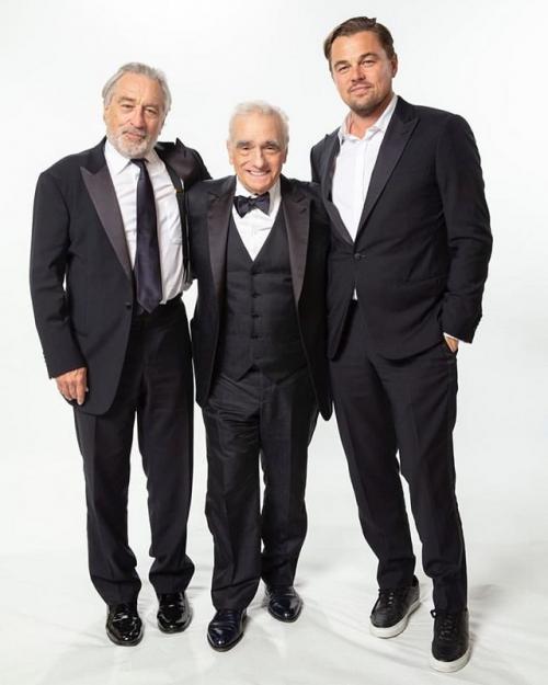 Martin Scorsese (tengah) bersama Robert De Niro (kiri) dan Leonardo DiCaprio (kanan). (Foto: Instagram/@martinscorsese_)