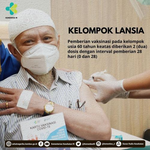 Vaksinasi covid-19 untuk lansia. (Foto: Kemenkes)