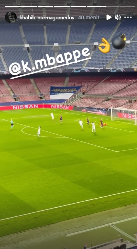 Khabib nonton langsung laga Barcelona vs PSG