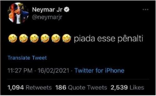 Tweet Neymar Jr