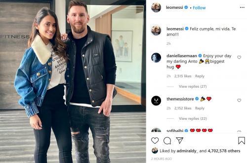 Antonella Roccuzzo dan Lionel Messi (Foto: Instagram/@leomessi)