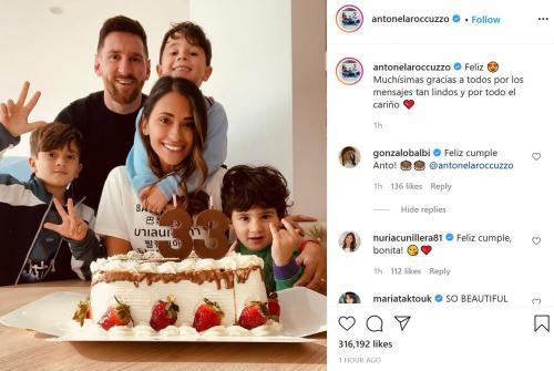Lionel Messi, Antonella Roccuzzo, dan anak-anak (Foto: Instagram/@antonelaroccuzzo)
