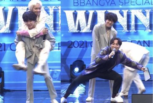 Celana Kang Seung Yoon robek saat menggendong Mino sambil squat.