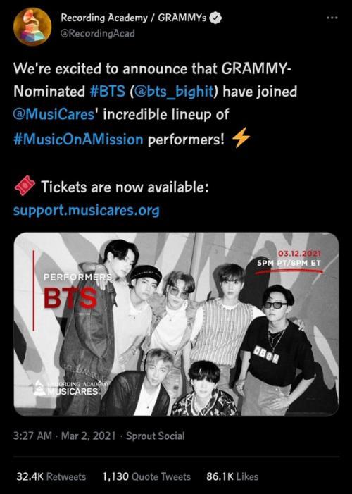 BTS. (Foto: Twitter/Recording Academy)
