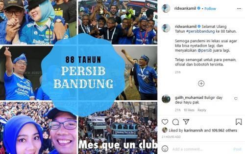 Ucapan Ridwan Kamil untuk Persib Bandung