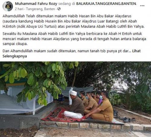 Postingan Temuan Makam Habib Hasan Alaydrus