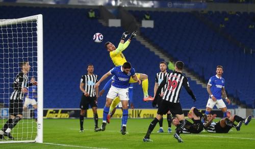 Suasana laga Brighton vs Newcastle United (Foto: Reuters/Clive Rose)