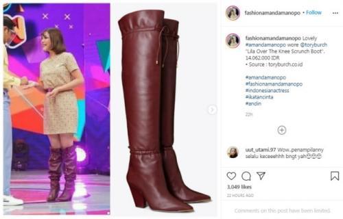 Sepatu boot Amanda Manopo. (Foto: Instagram @fashionamandamanopo)
