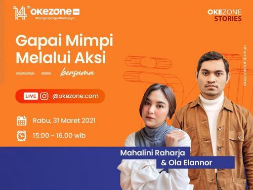 Live IG Okezone bersama Mahalini dan Ola Elannor.