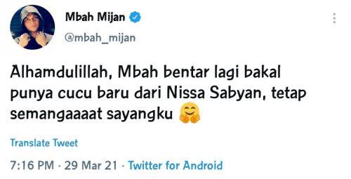 Mbah Mijan ucapkan selamat atas kehamilan Nissa Sabyan.