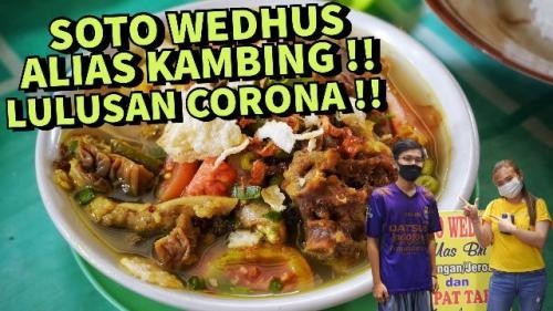 Fifin Liefang rasakan nikmatnya Soto Wedhus Mas Bri di Purwokerto. (Foto: YouTube Fifin Liefang)