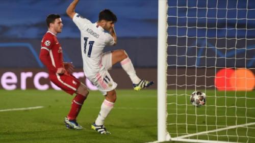 Marco Asensio menjebol gawang Liverpool (Foto: UEFA)