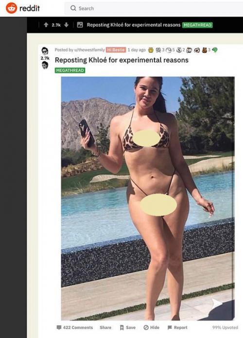 Khloe Kardashian panik foto berbikini yang diunggah tanpa editan tersebar di medsos.