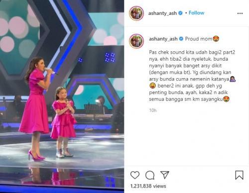 Ashanty dan Arsy tampil sebagai bintang tamu dalam The Voice Kids Indonesia. (Foto: Instagram/@ashanty_ash)