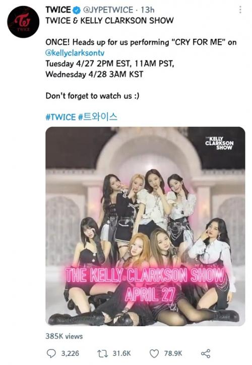 TWICE bakal tampil di The Kelly Clarkson Show. (Foto: Twitter/@jypEtwice)