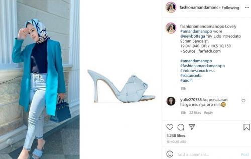 Sandal mahal Amanda Manopo. (Foto: Instagram @fashionamandamanopo)