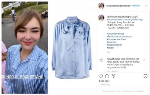 Blus mahal Amanda Manopo. (Foto: Instagram @fashionamandamanopo)