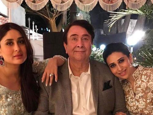 Randhir Kapoor bersama Karisma dan Kareena Kapoor.