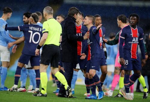 Suasana laga Man City vs PSG