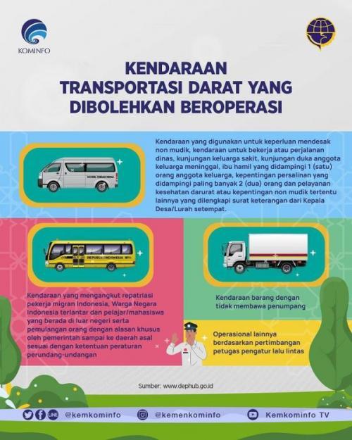 Kendaraan yang masih boleh melintas saat larangan mudik Lebaran 2021. (Foto: Instagram @kemenkominfo)