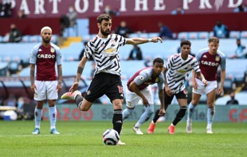 Bruno Fernandes di laga Aston Villa vs Man United