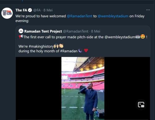 Azan berkumandang di Stadion Wembley (Foto: Twitter/@FA)