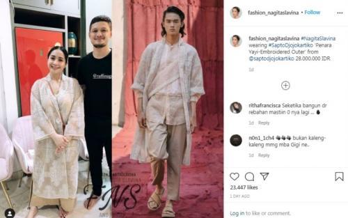 Outfit Lebaran Nagita Slavina. (Foto: Instagram @fashion_nagitaslavina)