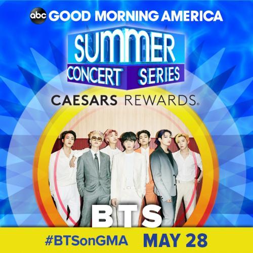 BTS tampil dalam Good Mirning America Summer Concert Series. (Foto: ABC Channel)