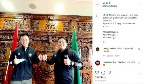 Baim Wong di Kantor PSSI (Foto: Instagram/@pt_lib)